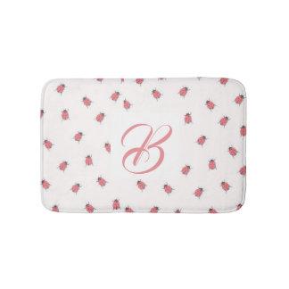 Custom initial with cute ladybug pattern bath mat