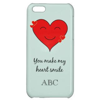 Custom initials heart smile iPhone 5C covers