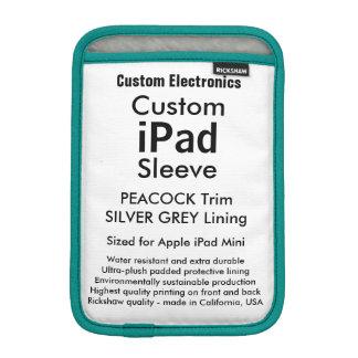Custom iPad Mini Sleeve - Peacock & Silver