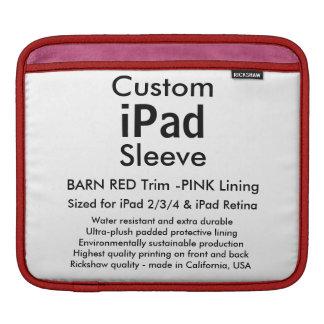 Custom iPad Sleeve - Horizontal (Barn Red & Pink)