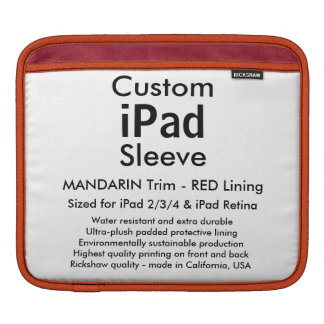 Custom iPad Sleeve - Horizontal (Mandarin & Red)