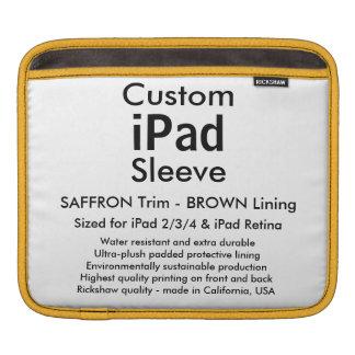 Custom iPad Sleeve - Horizontal (Saffron & Brown)