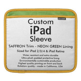 Custom iPad Sleeve - Horizontal (Saffron & Green)