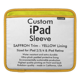 Custom iPad Sleeve - Horizontal (Saffron & Yellow)