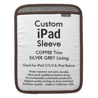 Custom iPad Sleeve - Vertical (Coffee & Silver)
