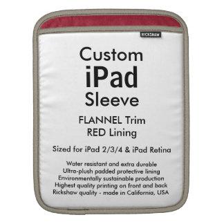 Custom iPad Sleeve - Vertical (Flannel & Red)