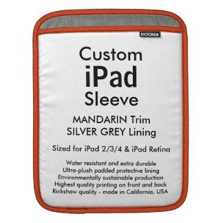 Custom iPad Sleeve - Vertical (Mandarin & Silver)