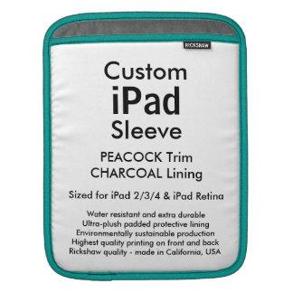 Custom iPad Sleeve - Vertical (Peacock & Gray)