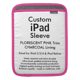 Custom iPad Sleeve - Vertical (Pink & Charcoal)