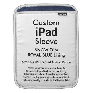 Custom iPad Sleeve - Vertical (Snow & Royal Blue)