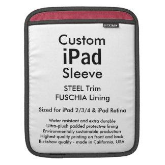 Custom iPad Sleeve - Vertical (Steel & Fuschia)