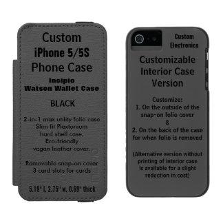 Custom iPhone 5/5S Watson™ Wallet Folio Case BLACK Incipio Watson™ iPhone 5 Wallet Case