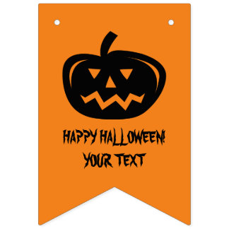 Custom jackolantern Halloween party bunting flags