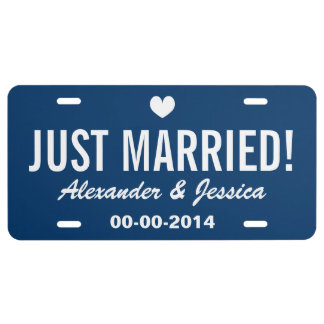 Custom Just married license plate for wedding car License Plate