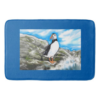 Custom large bath mat sea coast puffin nautical