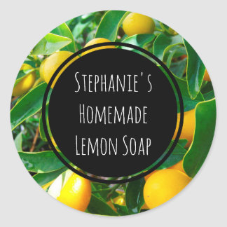 Custom Lemon Fragrance Bottle Jar Garden Label Round Sticker