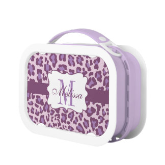 Custom Leopard Print Purple Lavender Lunchbox