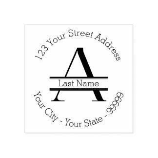 "Custom Letter ""A"" Monogram Name And Return Address Rubber Stamp"