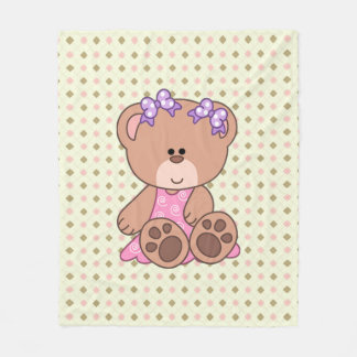 Custom Little Girl Bear Fleece Blanket