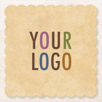 Custom Logo Branded Vintage Style Scallop Square Paper Coaster