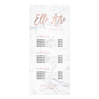 Custom logo hair faux gold marble price list rack card template