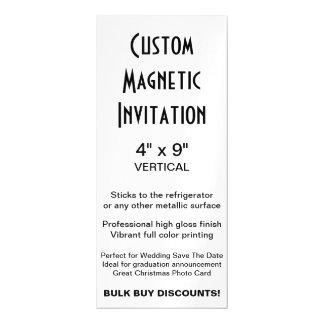 "Custom Magnetic Invitation 4"" x 9"" Vertical Magnetic Invitations"
