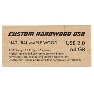 Custom Maple Wood USB 2.0 Flash - 64GB Wood USB 2.0 Flash Drive