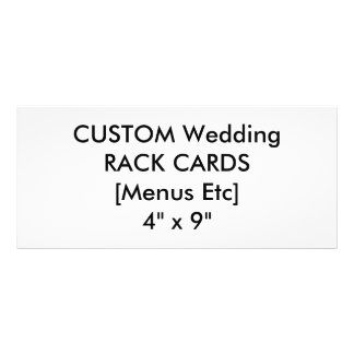 "Custom Menu & Program Cards 4"" x 9"" Personalized Rack Card"