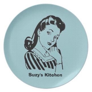 Custom Message & Color Retro Plates! Dinner Plates
