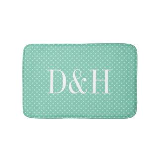 Custom mint polkadots pattern monogrammed bath mat