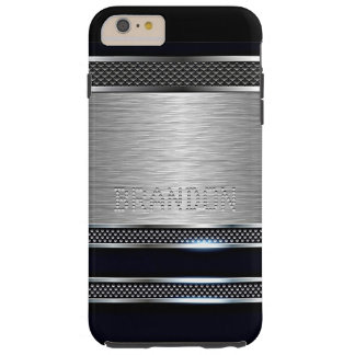 Custom Modern Faux Shiny Metal Stripes Pattern Tough iPhone 6 Plus Case