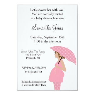 Custom Mommy with Umbrella Pink Baby Shower Invite