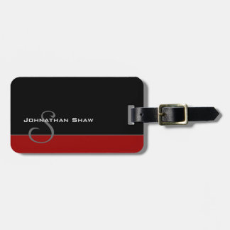 Custom Monogram 5 (Red) Luggage Tag