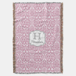 Custom Monogram and Name Pink Damask A05 Throw Blanket