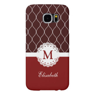 Custom Monogram - Chic Brown and Red Lace Pattern