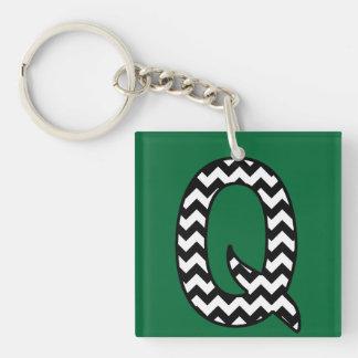 Custom Monogram Keychain: Q: Black, White Chevrons Key Ring