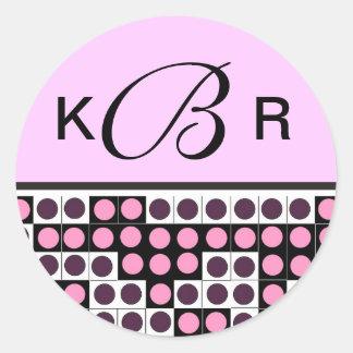 Custom Monogram Letter B Black White Pink Sticker
