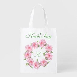 Custom monogram & name reusable grocery bag