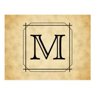 Custom Monogram on Parchment Style Pattern Postcard