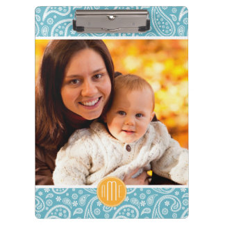 Custom Monogram Paisley Pattern with Your Image Clipboard