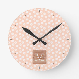 Custom Monogram. Picture of Wood, Floral Pattern. Round Clock