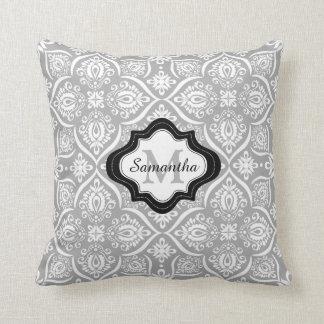 Custom Monogram Pillow-Damask Pattern Gray Cushion