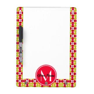 Custom Monogram Pretty and Girly Pink Red Yellow P Dry Erase White Board
