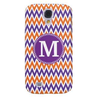 Custom Monogram Purple Orange Chevron Pattern Galaxy S4 Case