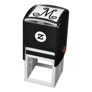 Custom Monogram Rubber Stamp Whimsical Initial