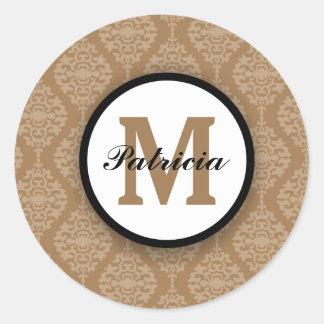 Custom Monogram Seals|Elegant Brown Damask Pattern Round Sticker