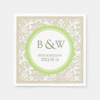 Custom Monogram Wedding Napkin Beige Lime Damask Paper Serviettes