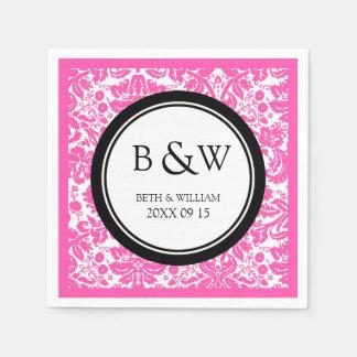Custom Monogram Wedding Napkin Black Pink Damask Paper Serviettes