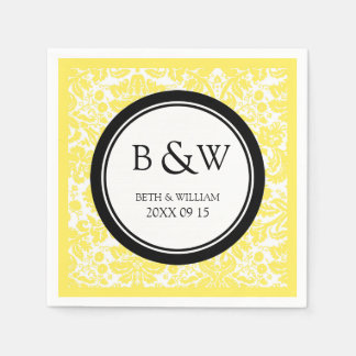 Custom Monogram Wedding Napkin Black Yellow Damask Disposable Napkins