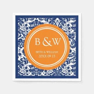 Custom Monogram Wedding Napkin Blue Damask Paper Napkin